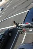 骑自行车的城镇 库存图片