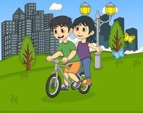 骑自行车的孩子在公园动画片 库存图片