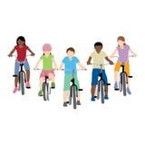 骑自行车的孩子 库存照片