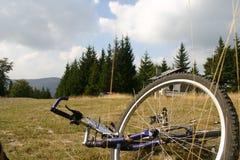 骑自行车的山 免版税库存照片