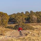 骑自行车的清楚的方形的人在一串未铺砌的足迹在一好日子 免版税图库摄影