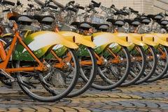 骑自行车的绿色运输 免版税库存图片
