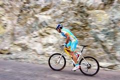 骑自行车的艰难竞争 免版税图库摄影