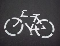 骑自行车的道路标志 免版税图库摄影