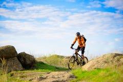 骑自行车的骑自行车者在美丽的山行迹 免版税库存照片