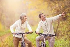 骑自行车的活跃前辈 免版税库存照片