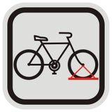 骑自行车立场,在灰色和黑框架的黑剪影 库存照片