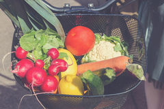骑自行车篮子充满新鲜蔬菜从市场 免版税库存图片