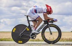 骑自行车者丹尼斯Menchov 免版税图库摄影