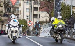 骑自行车者亚历克西斯Vuillermoz -巴黎好2018年 免版税库存照片
