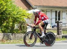 骑自行车者亚当汉森-环法自行车赛2014年 免版税库存照片