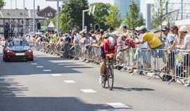骑自行车者亚当汉森-环法自行车赛2015年 免版税库存图片