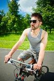 骑自行车者人年轻人 库存照片