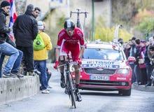 骑自行车者克里斯托夫Laporte -巴黎好2016年 库存图片