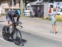 骑自行车者克里斯托弗Froome - Criterium du杜法因呢2017年 库存照片