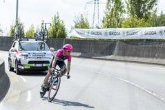 骑自行车者克里斯赫纳-环法自行车赛2014年 免版税图库摄影