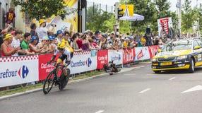 骑自行车者史蒂文Kruijswijk -环法自行车赛2015年 免版税库存图片