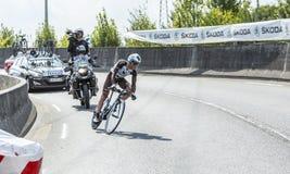 骑自行车者吉恩克里斯托夫Peraud -环法自行车赛2014年 免版税库存照片