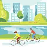 骑自行车者在公园 库存照片