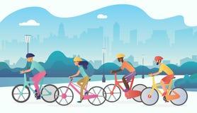 骑自行车者在公开城市公园炫耀人乘坐的自行车 时髦radient颜色传染媒介例证 皇族释放例证