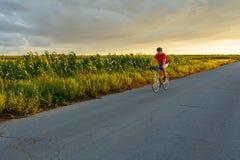 骑自行车者在沿领域的一辆路自行车乘坐 在背景日落天空 免版税库存照片