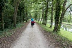 骑自行车者在法国 库存照片