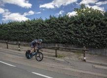 骑自行车者基督徒膝盖- Criterium du杜法因呢2017年 库存照片