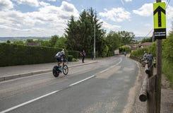 骑自行车者基督徒膝盖- Criterium du杜法因呢2017年 库存图片