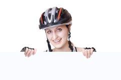骑自行车者妇女 免版税库存照片