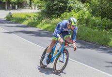 骑自行车者威廉范Keirsbulck - Criterium du杜法因呢201 库存照片