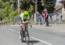 骑自行车者安德鲁Talansky - Criterium du杜法因呢2017年 免版税库存图片