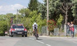 骑自行车者尼古拉斯罗氏- Criterium du杜法因呢2017年 库存照片