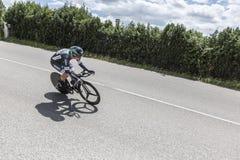 骑自行车者帕斯卡Ackermann - Criterium du杜法因呢2017年 免版税库存照片