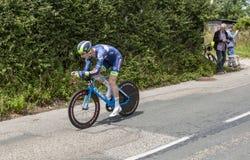 骑自行车者弗雷德里克Backaert - Criterium du杜法因呢2017年 免版税库存照片