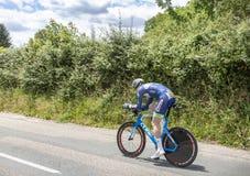 骑自行车者弗雷德里克Backaert - Criterium du杜法因呢2017年 免版税库存图片