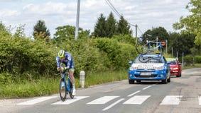 骑自行车者弗雷德里克Backaert - Criterium du杜法因呢2017年 库存图片