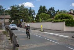 骑自行车者恩里科Battaglin - Criterium du杜法因呢2017年 免版税库存照片