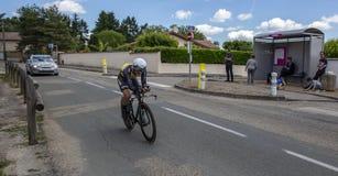 骑自行车者恩里科Battaglin - Criterium du杜法因呢2017年 免版税库存图片
