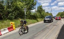 骑自行车者托马斯Voeckler - Criterium du杜法因呢2017年 库存照片