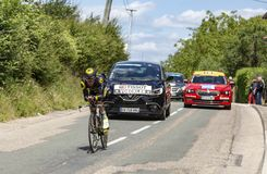骑自行车者托马斯Voeckler - Criterium du杜法因呢2017年 库存图片