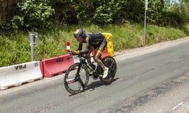 骑自行车者托马斯Voeckler - Criterium du杜法因呢2017年 免版税库存照片