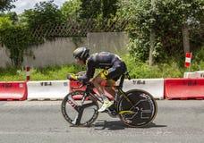 骑自行车者托马斯Voeckler - Criterium du杜法因呢2017年 免版税库存图片