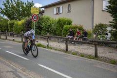 骑自行车者撒母耳Dumoulin - Criterium du杜法因呢2017年 图库摄影