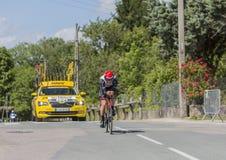骑自行车者本杰明Swift- Criterium du杜法因呢2017年 免版税库存图片