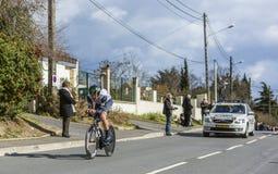骑自行车者杰伊罗伯特汤姆生-巴黎好2016年 库存照片