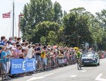 骑自行车者杰克・鲍尔-环法自行车赛2015年 免版税库存图片