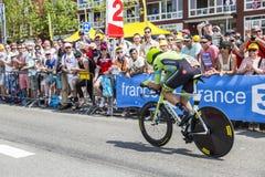 骑自行车者杰克・鲍尔-环法自行车赛2015年 库存照片