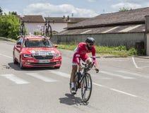 骑自行车者杰弗里Soupe - Criterium du杜法因呢2017年 库存照片