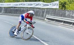 骑自行车者汤姆Dumoulin -环法自行车赛2014年 图库摄影