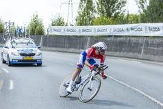 骑自行车者汤姆Dumoulin -环法自行车赛2014年 库存照片